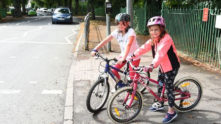 L-R: Eliza, 8 and Florence, 9. Havering school children called to take part in banner competition fo