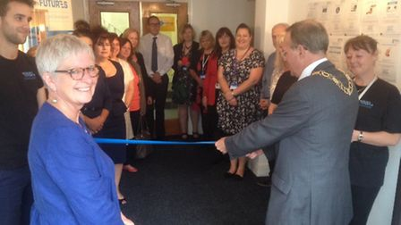 Mayor Stephen Ardley opens the new adult learning centre on Regent Road in Lowestoft. Pictures: Joe