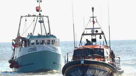 Lowestoft Lifeboat was called to aid a fishing boat reporting an engine room fire. The lifeboat tows