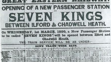The public announcement in 1901 of the opening of Seven Kings Railway Station.
