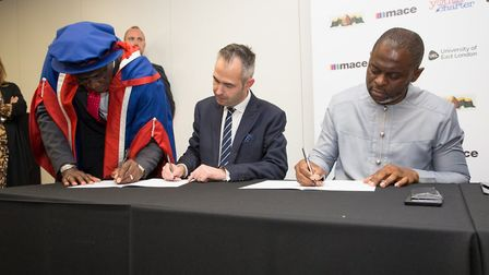 The signing of the memorandum of understanding. Picture: David Harrison/UEL