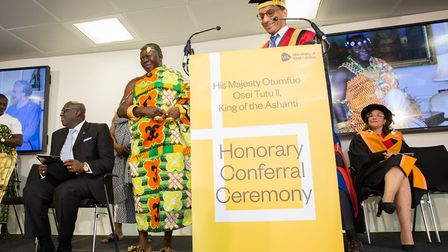 The conferring of an honorary doctor on His Majesty Otumfuo Osei Tutu II, King of the Ashanti. Pictu