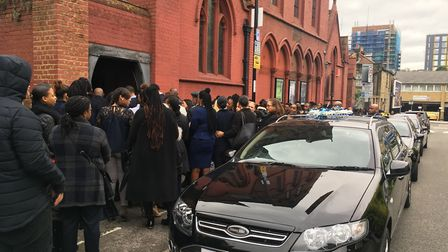Hundreds of mourners attended Corey's funeral in Lewisham. Pic: KAT HOPPS