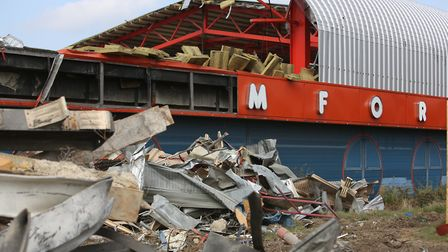 Romford Ice Rink on Rom Valley Way beind demolished by workers. The former ice rink is now set to be