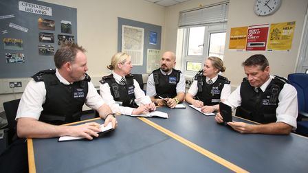 Havering Police officers in a streetwatch team meeting at Hornchurch Police station