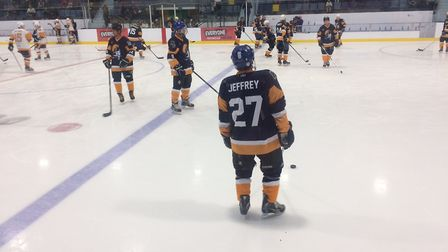 Gord Jeffrey during warm-up at the Sapphire Ice & Leisure Centre