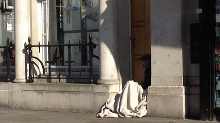 A rough sleeper on the streets of Romford this week. Picture: Archant