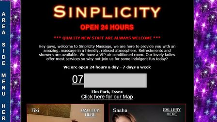 A screengrab from the webpage for Sinplicity, which advertises itself as a massage parlour.