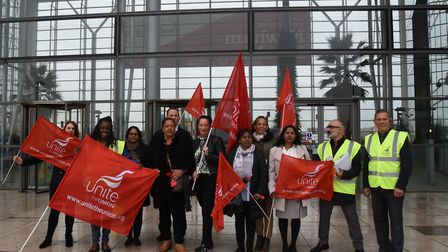 Newham council finance staff represented by the UNITE union staging a lobby outside the council head