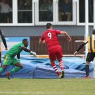Sean Marks of Hornchurch scores the second goal for his team (pic Gavin Ellis/TGS Photo)