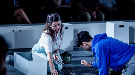 Shiv Jalota as Christopher and Kathryn McGarr as Siobhan in The Curious Incident of the Dog in the N