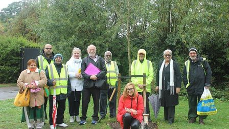 The multifaith walk began with the planting of a tree. Photo: Demi Butcher