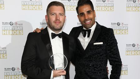 Matthew Atkinson (left) at the St John Ambulance Everyday Heroes Awards. Picture: Tim P. Whitby/Gett