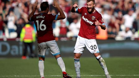 West Ham United's Andriy Yarmolenko celebrates his side's second goal of the game during the Premier