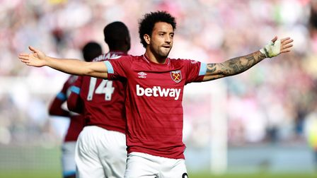 West Ham United's Felipe Anderson celebrates scoring his side's first goal of the game during the Pr