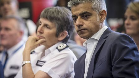 The Mayor of London Sadiq Khan, pictured with Met Police Commissioner Cressida Dick, has come under