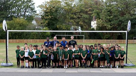 Aaron Cresswell of West Ham United visits Snaresbrook Primary School on September 20, 2018
