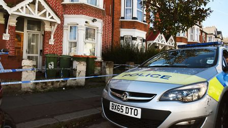 Police at the house in Burges Road, East Ham, where a 73-year old woman was arrested for the murder