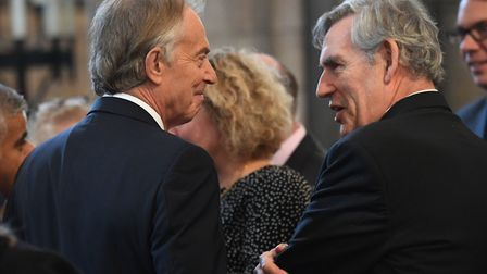Former Prime Ministers Tony Blair and Gordon Brown arriving for the memorial service at Southwark Ca
