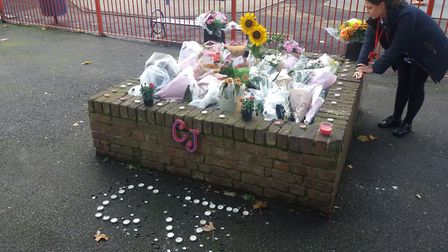 Floral tributes for Forest Gate shooting victim Corey Junior Davis. Picture: Ken Mears