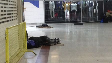 A rough sleeper outside H. Samuels in the Stratford Centre, where Pepe died in January. Photo: Archa