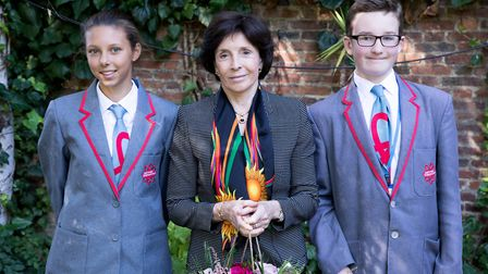 Dame Mary Archer with East London Science School pupils Beatrice Banyte and Bradley Stafford. Pictur
