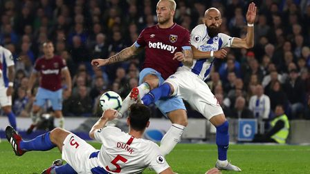 West Ham United's Marko Arnautovic (left) has a shot on goal during the Premier League match at the