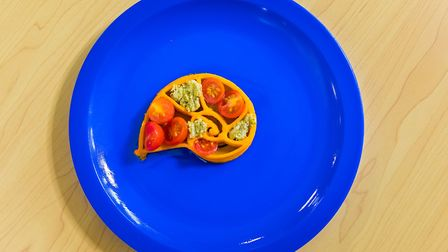 A Fibonacci spiral made from butternut squash with tomato & olive oil. Picture: Nigel Davies