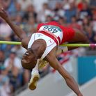 Dalton Grant representing England in the high jump at the 2002 Commonwealth Games (pic: John Giles/P