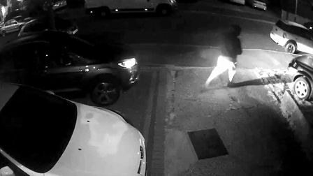 One of the thieves was wearing a grey hoody and used a keyless fob to get into the car.