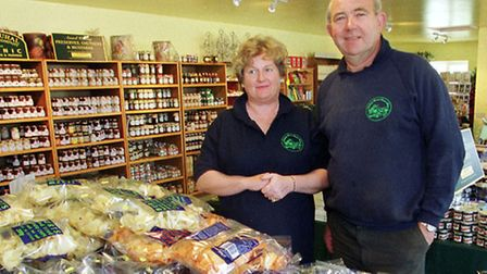ROGER AND PAULINE BLYTH IN THE NEW EXTENSION TO THEIR FRIDAY STREET FARM SHOP. PHOTO RICHARD SNASDEL