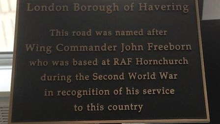 The plaque that will be put in place in Freeborne Gardens.