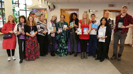 Authors at the event at Redbridge Library with Mayor Cllr Debbie Kaur Thiara (pictured centre).