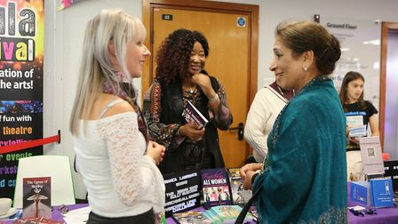 Left to right: Illustrator Katie Sherriff, Author Franca B Lawrence talking to Mayor Cllr Debbie Kau