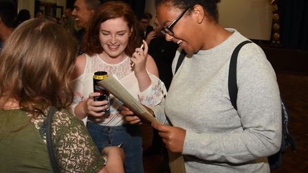 Students celebrating their GCSE results at the Harris Academy in Rainham. Picture: Ken Mears