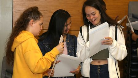 Pupils compare their GCSE results. Picture: Paul Bennett