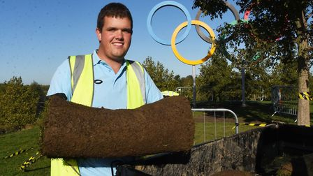 LLDC Apprentice Award winner Lee Young at work in the Queen Elizabeth Olympic Park.