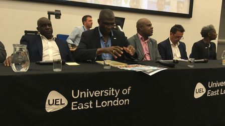 Panel members at a knife crime summit in Stratford on Tuesday night. Pic: JON KING