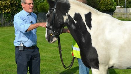 Pakefield Church Pet Service. Canon Bob Baker with Badger the horse.