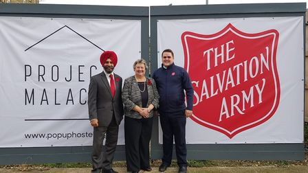 (L-R) Council leader Jas Athwal, Heather Wheeler MP and Ilford Salvation Army Capt John Clifton. Pho