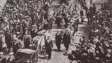 Jack Cornwell's funeral with full military honours in 1916