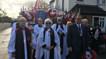 Hundreds of people turned out to take part in the Remembrance parade in Elm Park. Photo: Councillor