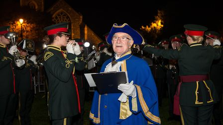 Havering's town crier, Harry Matthews, reads the International Cry for Peace at the end of the beaco
