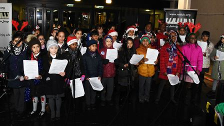 The Barkingside Christmas lights switch on event at Ken Aston Square. The choir from Fullwood School