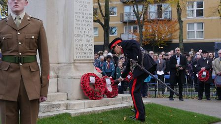 Deputy Lieutenant Thomas Chan lays a wreath at Ilford Memorial on Sunday, November 11 2018. Photo: A