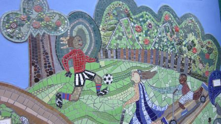 A footballer and children on scooters also feature, in a remarkably green depiction of Plaistow. Pic