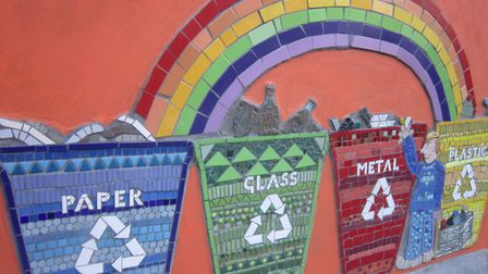 Recycling and waste bins made it into the mural, which was faciliated by social enterprise Art4Space