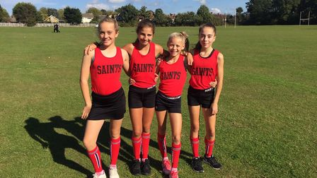 Sophie Willson, Amelia King, Abigail Swan and Isobel Calabritto at the English Schools' Cross Countr