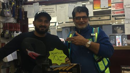 Omar Ihsan with Mohammed Zahoor, who works at Upton Park Builder's Merchant. Picture: Rhiannon Long
