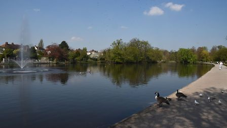 Early summer scenes around Romford in April. Raphael Park under a blue sky